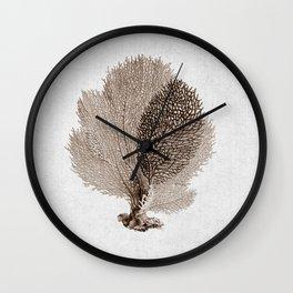 Brown Sea Fan Coral Illustration Nautical Decor Wall Clock