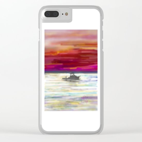 Fishing in Neon Clear iPhone Case