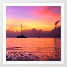 Sunset Sailboat Near Tahiti in the South Pacific Art Print