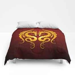 Yellow and Red Twin Tribal Dragons Comforters