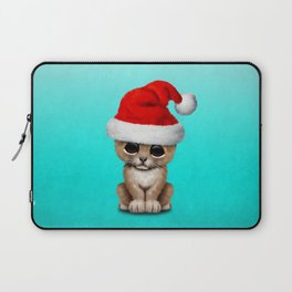 Christmas Lion Wearing a Santa Hat Laptop Sleeve