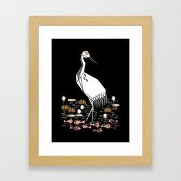 Crane linocut art print, bird art prints, bird illustrations, bird linocut art, Framed Art Print