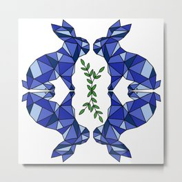 Geometric Rabbits and Plants Metal Print