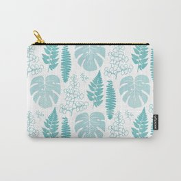 Pale tropical leaves and ferns Carry-All Pouch