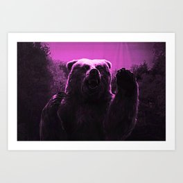 Pink Grizzly Bear Art Print