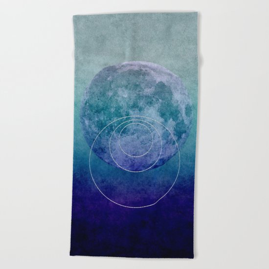 Blue Moon geometric circle mixed media Beach Towel