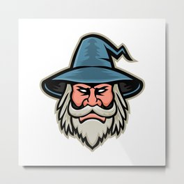 Wizard Head Mascot Metal Print