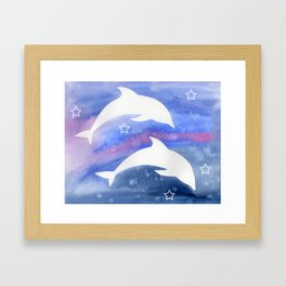 Dolphin Silhouette with watercolor background Framed Art Print