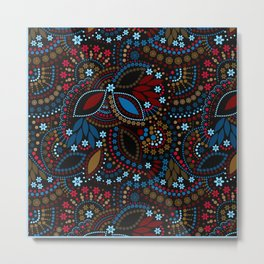 Scattering beads . Black background Country . Metal Print