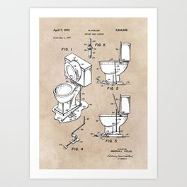 patent art Fields Toilet seat lifter 1967 Art Print