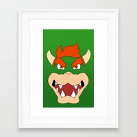 mario bros Framed Art Prints featuring Bowser Super Mario Bros. by JAGraphic