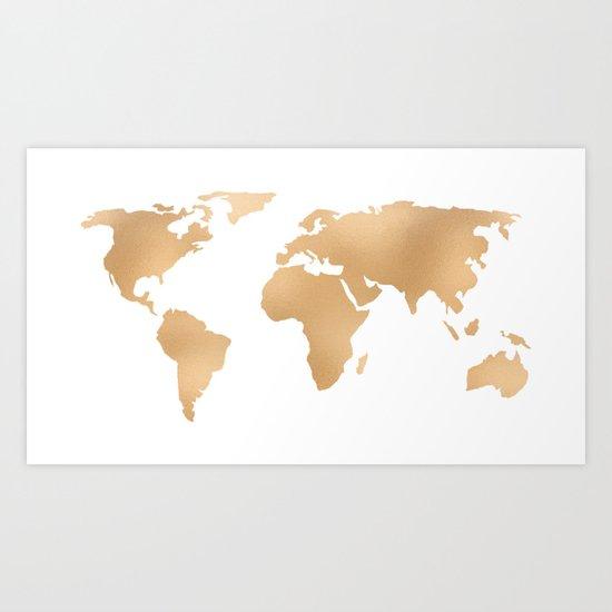 World Map Copper Bronze Gold Metallic Art Print