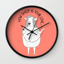 Sheep singing Bee Gees | Animal Karaoke | Illustration | Red Wall Clock