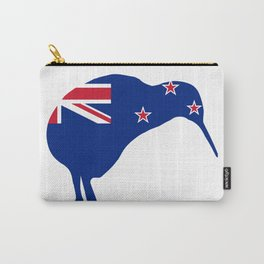 New Zealand Flag With Kiwi SIlhouette Carry-All Pouch