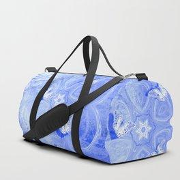Butterflies in blue abstract landscape Duffle Bag