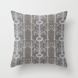 Grey Floral Woods Throw Pillow