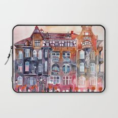 Apartment House in Poznan and orange umbrellas Laptop Sleeve