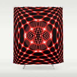 Neon red glob fractal Shower Curtain