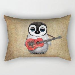 Baby Penguin Playing Albanian Flag Guitar Rectangular Pillow
