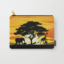 Wild Animals on African Savanna Sunset Carry-All Pouch