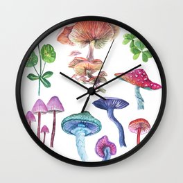 Forest mushrooms and floral watercolor. Wall Clock