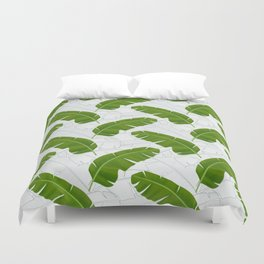 Banana Leaves_ Bg White Duvet Cover
