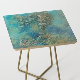 Blue And Gold Modern Abstract Art Painting Side Table