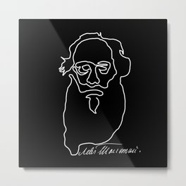 Leo Tolstoy Continuous Line Drawing Metal Print