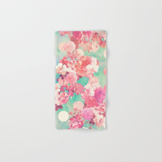 Romantic Pink Retro Floral Pattern Teal Polka Dots  Hand & Bath Towel