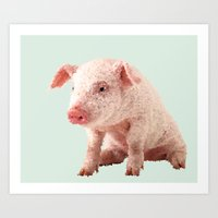 pig Art Prints featuring Pig by Dora Birgis