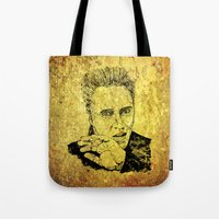 christopher walken Tote Bags featuring Christopher by Rabassa