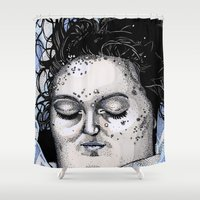 laura palmer Shower Curtains featuring Laura Palmer by Drawn by Nina