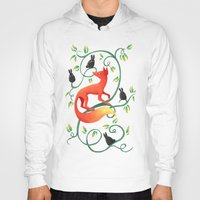 bunnies Hoodies featuring Bunnies and a Fox by Freeminds