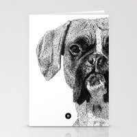 boxer Stationery Cards featuring Boxer by Nuria Galceran
