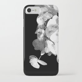 White Orchids Black Background iPhone Case