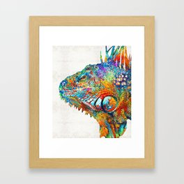 Colorful Iguana Art - One Cool Dude - Sharon Cummings Framed Art Print
