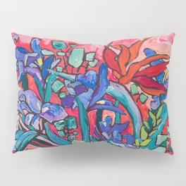 Persephone Painting - Bouquet of Iris and Strelitzia Flowers in Greek Horse Vase Against Coral Pink Pillow Sham