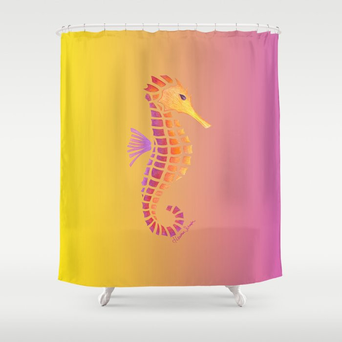 Sunset Seahorse Shower Curtain By Artsytoocreations