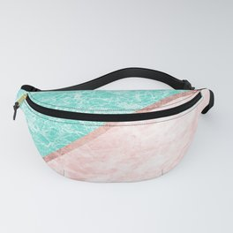 Turquoise teal pink rose gold geometrical marble Fanny Pack