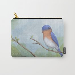 Bluebird on Branch Carry-All Pouch