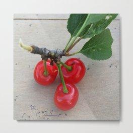 Cherries 3 On a Leaf Metal Print