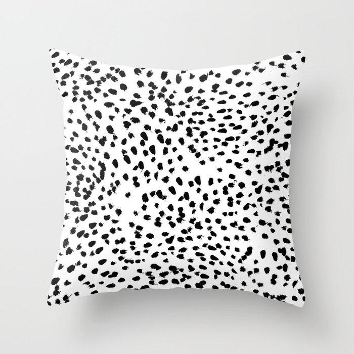 Nadia - Black and White, Animal Print, Dalmatian Spot, Spots, Dots, BW Throw Pillow