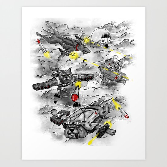Dog Fight Art Print