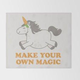 Make Your Own Magic - Pony Turned Unicorn Throw Blanket