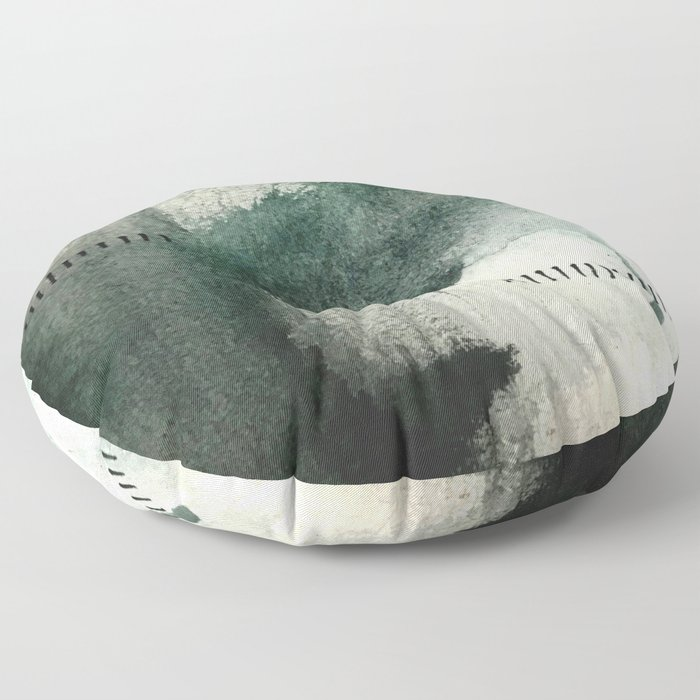 Last Kiss: a minimal, abstract watercolor piece in greens Floor Pillow