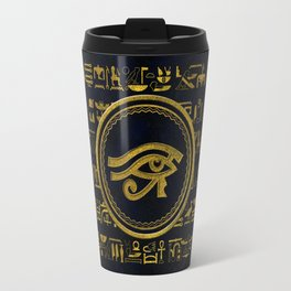 Gold Egyptian Eye of Horus - Wadjet Travel Mug