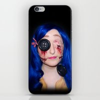 coraline iPhone & iPod Skins featuring Gory Coraline by Janelle Jex