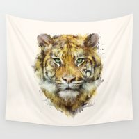 tiger Wall Tapestries featuring Tiger // Strength by Amy Hamilton