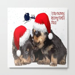 Puppy White Christmas I Saw Mummy Kissing Santa Claus Metal Print