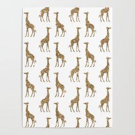Gold Glitter Giraffe Pattern Poster